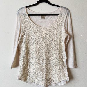 Lucky Brand 3/4 sleeve lace tee